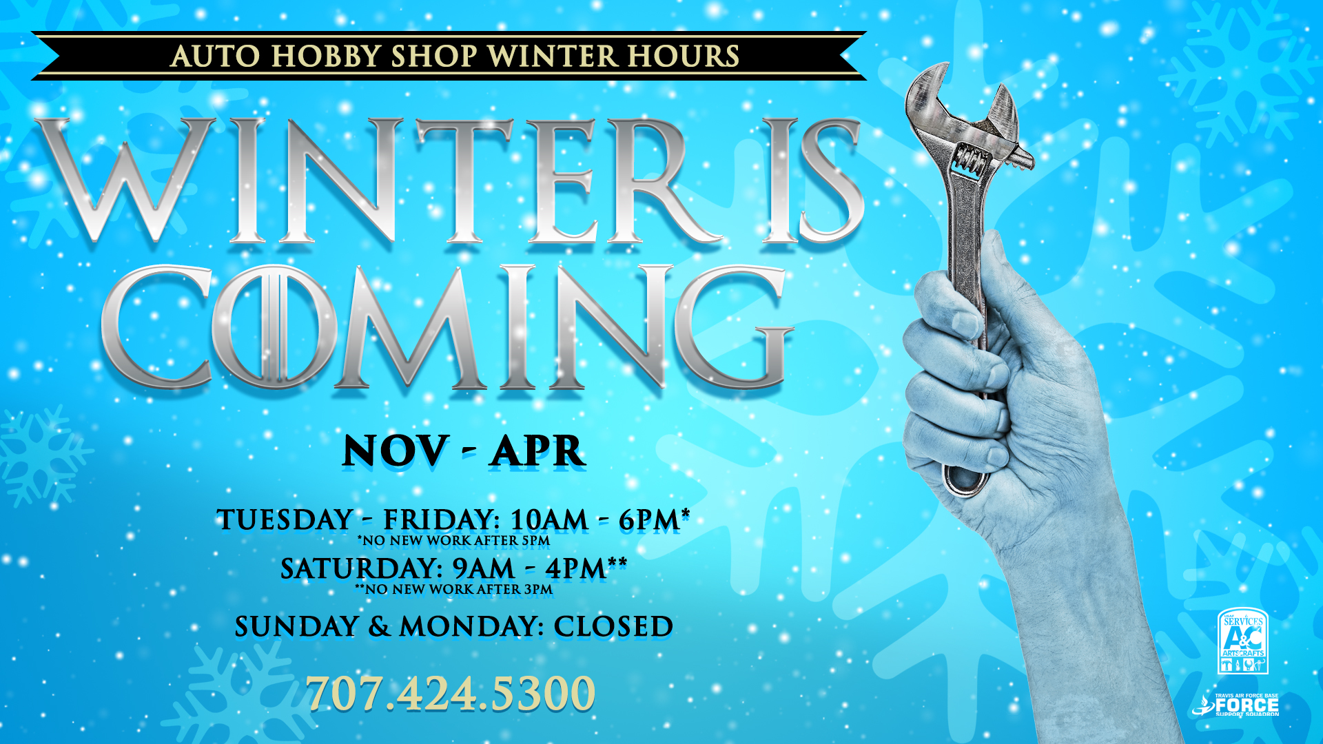 Winter Hours At The Auto Hobby Shop