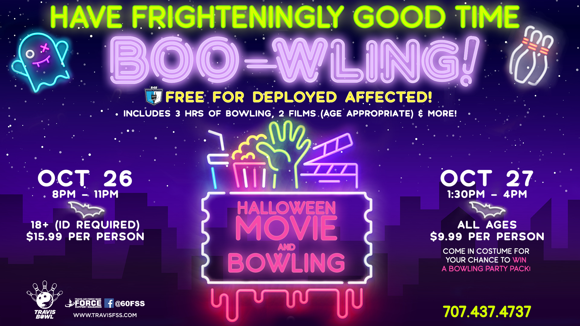 Halloween Movie And Bowling At Travis Bowl